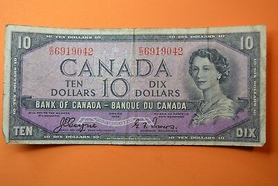 1954 Canada 10$ Devil's Head . F(only my opinion).Coyne-Towers E/D 6919042 !