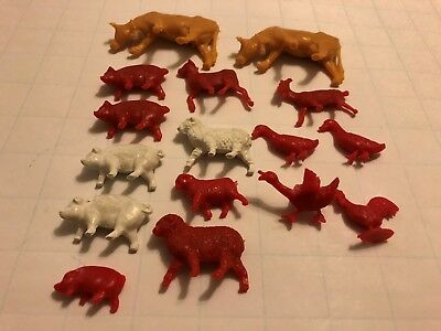 Vintage Hard Plastic Lot 16 Farm Animals Cow Pig Goat Chicken Lamb  Duck