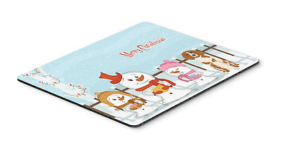 Merry Christmas Carolers Brittany Spaniel Mouse Pad, Hot Pad or Trivet