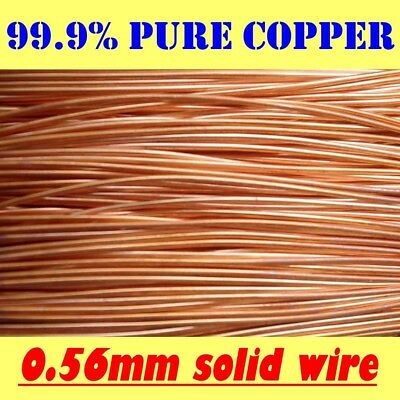 10 METRES SOLID BRIGHT 99.9% PURE COPPER WIRE, 0.56mm = 24G SWG = 23G AWG