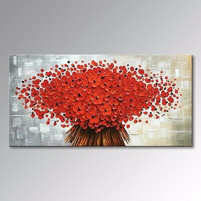 HAND-PAINTED WALL DECOR ART RED FLOWER OIL PAINTING ON CANVAS (with frames)