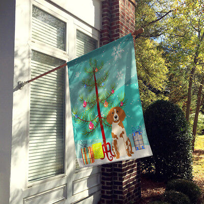 Merry Christmas Tree Brittany Spaniel Flag Canvas House Size
