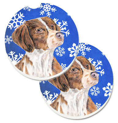 Brittany Winter Snowflakes Holiday Set of 2 Cup Holder Car Coasters