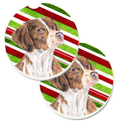 Brittany Candy Cane Holiday Christmas Set of 2 Cup Holder Car Coasters