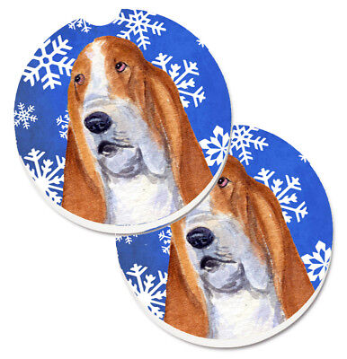 Basset Hound Winter Snowflakes Holiday Set of 2 Cup Holder Car Coasters