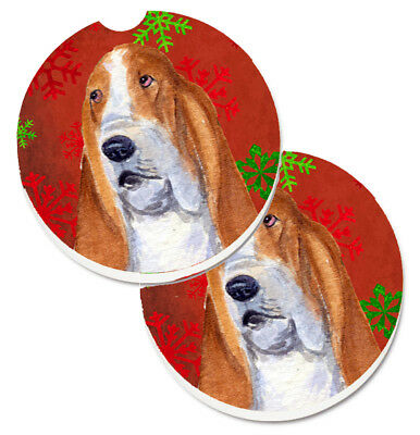 Basset Hound Red and Green Snowflakes Holiday Christmas Set of 2 Cup Holder Car