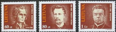 Writers stamps, 1994, Lithuania, SG ref: 555-557, 3 stamp set, MNH