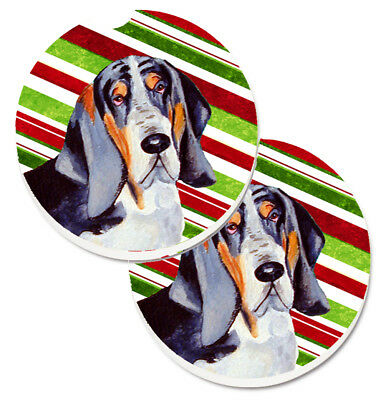 Basset Hound Candy Cane Holiday Christmas Set of 2 Cup Holder Car Coasters