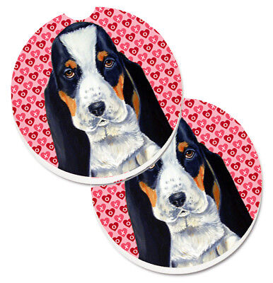 Basset Hound Hearts Love and Valentine's Day Portrait Set of 2 Cup Holder Car Co