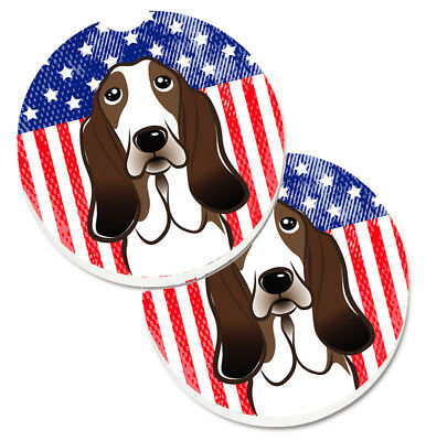 American Flag and Basset Hound Set of 2 Cup Holder Car Coasters
