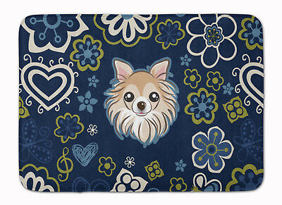 Blue Flowers Chihuahua Machine Washable Memory Foam Mat