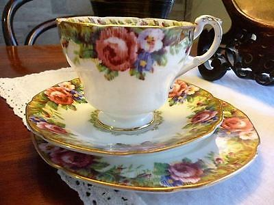 "Beautiful ""Tapestry Rose"" 1930s Paragon Trio"