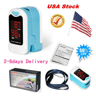 LED New Fingertip Pulse Oximeter with Case+Pouch SPO2 Pulse Rate Monitor cms50m