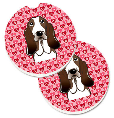 Basset Hound Hearts Set of 2 Cup Holder Car Coasters