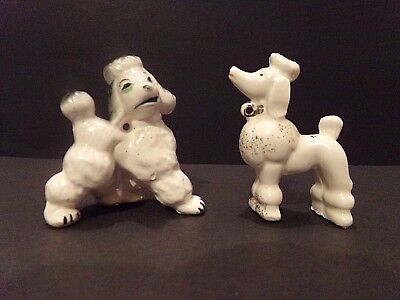 (2) PC Lot of Mismatch Vintage Porcelain Spaghetti Poodle Puppy Figurines Japan