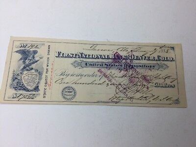Vintage Feb 29,1888 Canceled Check First Nat'l Bank Denver U.S Depository