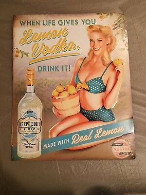 DEEP EDDY Lemon VODKA Tin Sign - NEAT SIGN! 16 x 20