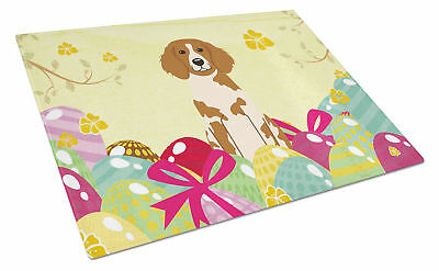 Easter Eggs Brittany Spaniel Glass Cutting Board Large
