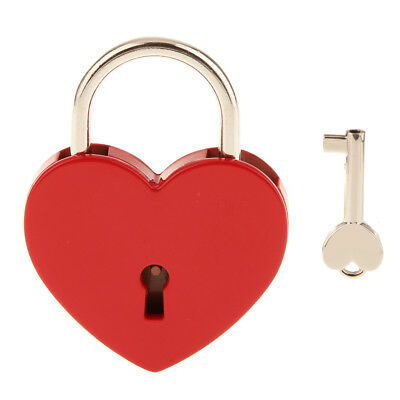 Vintage Style Heart Shape Padlock with Key Travel Lock Set - Red L