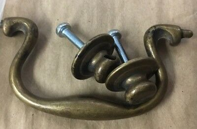Vintage Brass Drop Bail Style Drawer Pulls Handles 6 pcs