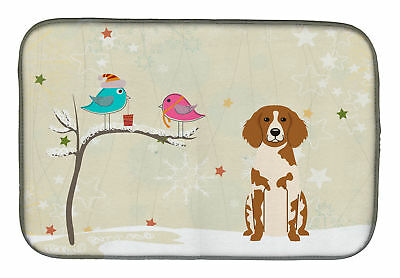 Christmas Presents between Friends Brittany Spaniel Dish Drying Mat