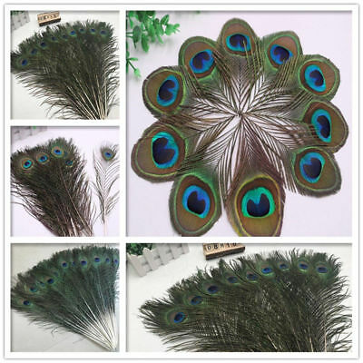 2-100pcs beautiful natural peacock tail feather eye 3-32inches / 8-80cm