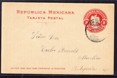 Mexico 1900 Embossed 2c Red Lettercard addressed