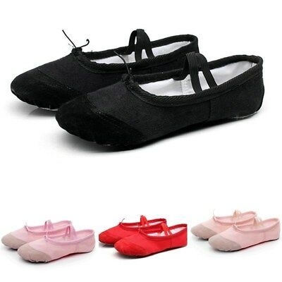 Kids Girls Ballet Dance Shoes Canvas Split-Sole Gymnastics Ballet Flats Slipper