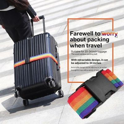 2Pack Travel Luggage Suitcase Strap Rainbow Color Belt Baggage Backpack Bag US
