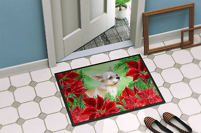 Chihuahua Leg up Poinsettas Indoor or Outdoor Mat 18x27
