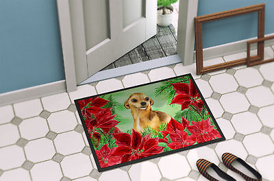 Carolines Treasures  CK1306MAT Chihuahua Poinsettas Indoor or Outdoor Mat 18x27