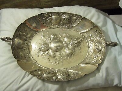 19th C AUSTRO HUNGARiAN REPOUSSE 800 SiLVER WALL PLATTER TRAY BASKET 19x12x3 BiG