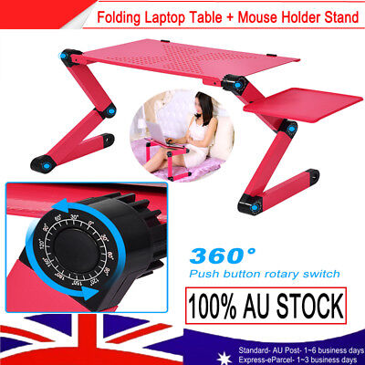 AU Desk Folding Laptop Computer Notebook Table Stand Bed Tray 360° Adjustable