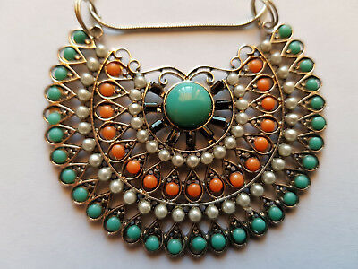 Aztec Look Beaded Semi Circle Pendant Necklace & Earring Set - Turquoise & Coral