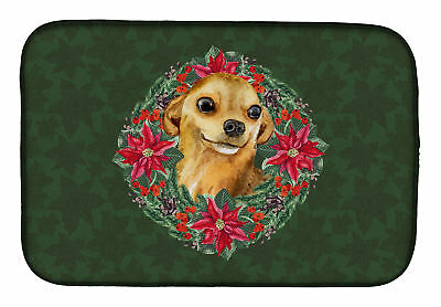Carolines Treasures  CK1524DDM Chihuahua Poinsetta Wreath Dish Drying Mat