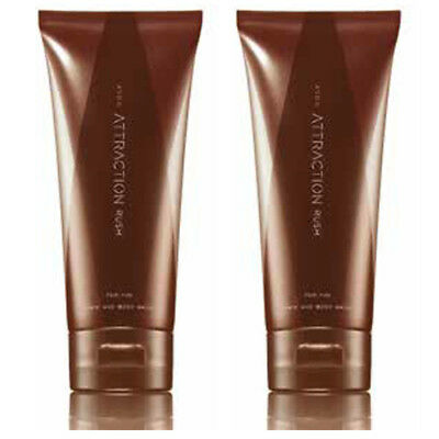 2 x Avon Attraction Rush Body and Hair Wash For Men Shower Gel Scented 200ml