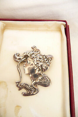 Antique Hallmarked Sterling Silver 925 Art Nouveau Brooch : Female Head