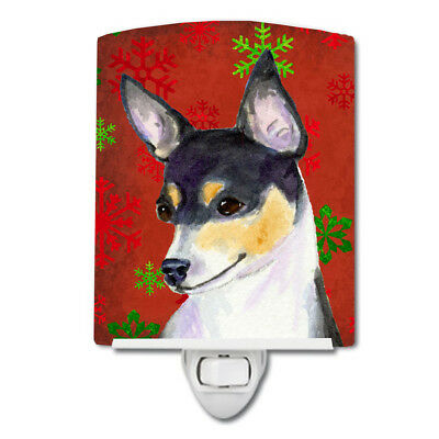 Chihuahua Red and Green Snowflakes Holiday Christmas Ceramic Night Light