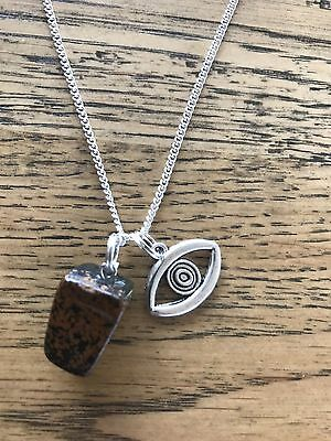 Tigers Eye natural stone with evil eye silver spiritual protection necklace