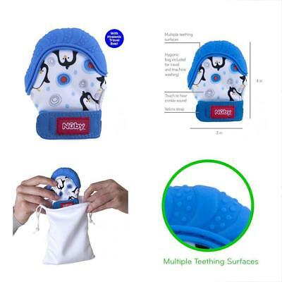 Soothing Teething Mitten Hygienic Travel Bag, Blue Penguins