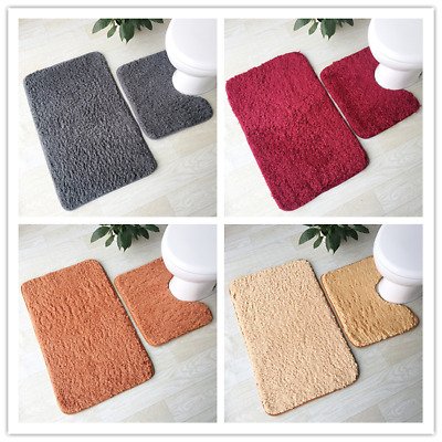 Bath Floor Mat Set - Toilet Pedestal Rug Bathroom Anti Non Slip Shower Carpet