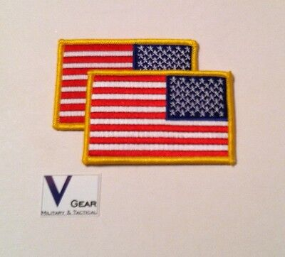 """USA US American Flag Uniform Patch REVERSE GOLD 3.5"""" x 2.25"""" LOT of 2"""