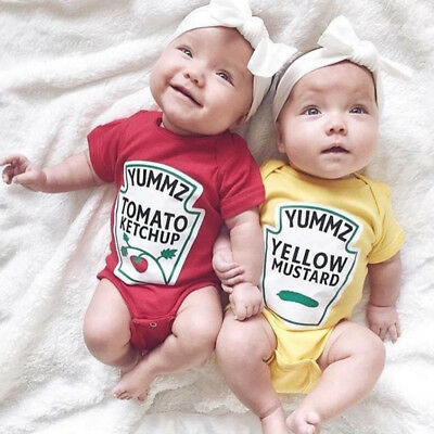 5ecb898a9 Baby Bodysuit Newborn Kids Infant Tomato Ketchup Mustard Twins Outfits  Clothes