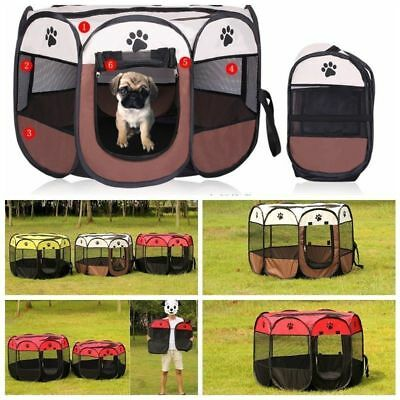 8 Panel Portable Puppy Hund Katze Laufstall Crate Cage Zwinger Zelt Play Pen ljh