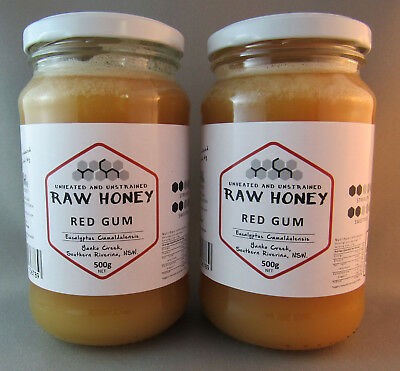 Raw Honey, Red Gum, Twin Pack,  2 * 500gms, (1 kilo total) free shipping