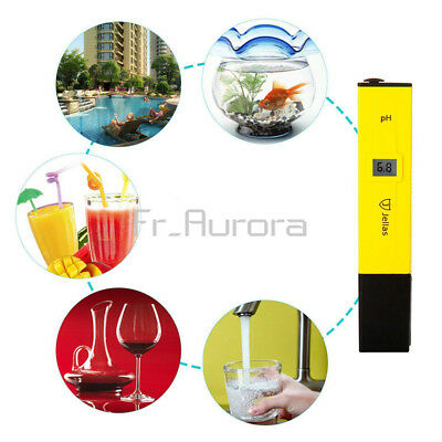 Pocket Digital PH Meter Water Tester Pen LCD Monitor Pool Aquarium Laboratory