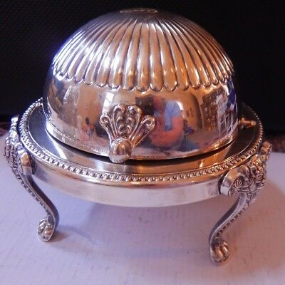 "Vintage FB Rogers Silver Co Footed Round Bowl Roll Top Domed Butter Dish 5"" x 5"""