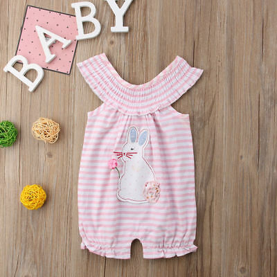 Newborn Toddler Baby Girls Cute Bunny Bubble Ruffled Romper Kid Jumpsuit Outfits