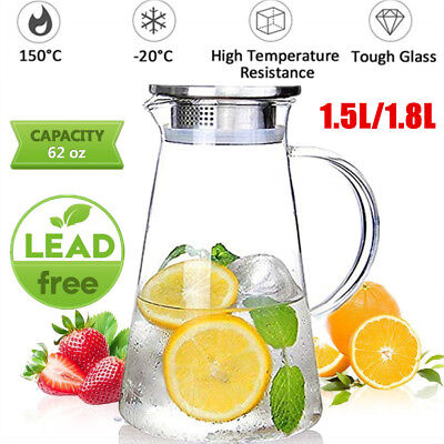 Glass Pitcher 1.8L Jug Water Juice Carafe Cocktail Tea with Stainless Steel Lid