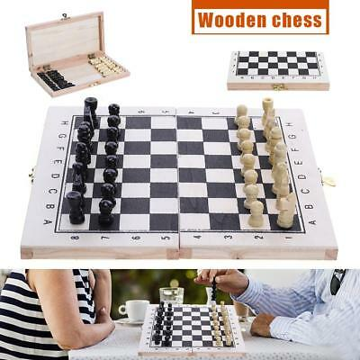 Portable Wooden Chess Set Hand Crafted Pieces and Foldable Board Box Travel Game